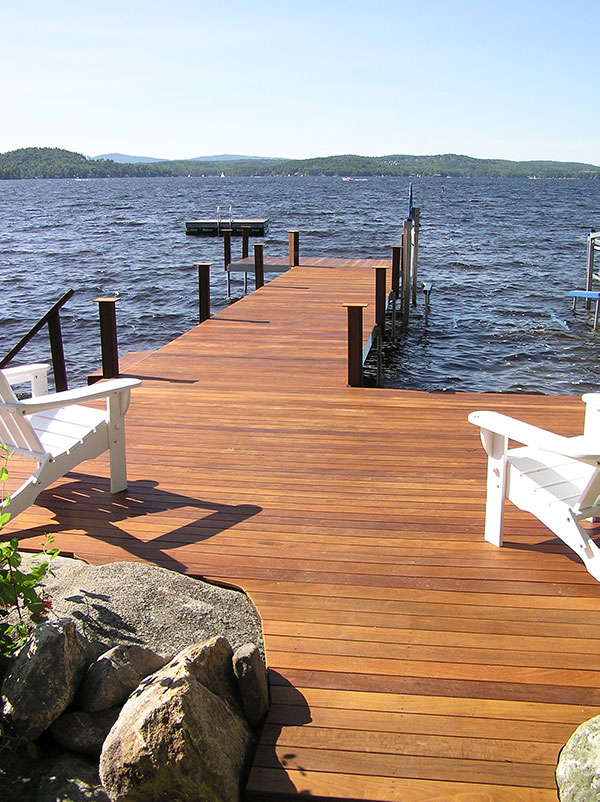 RDS dock system aluminum frame with red cedar decking