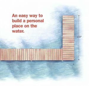 An easy way to build a personal place on the water - drawing of a dock