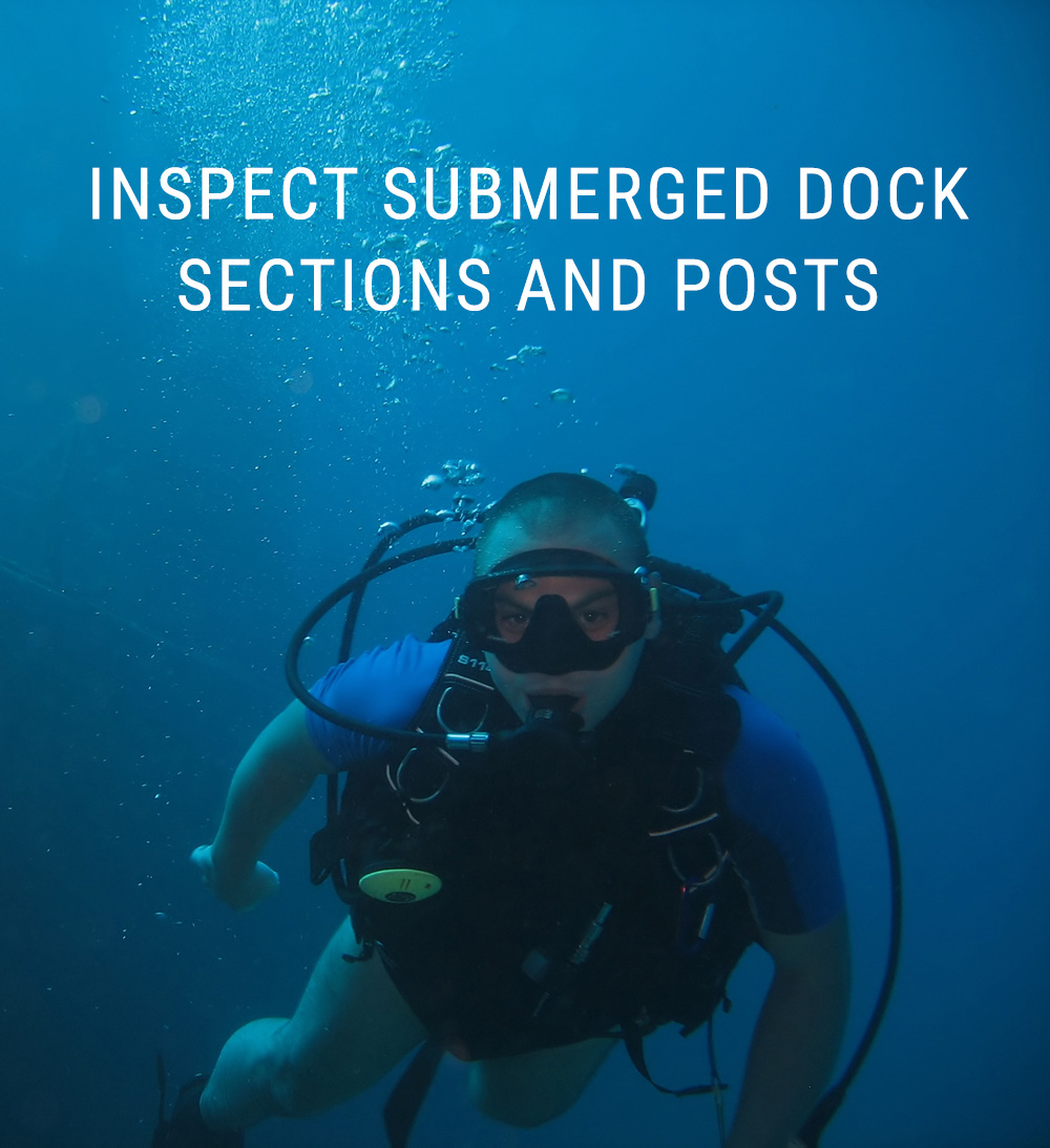 Diver Checking Submerged Dock Sections